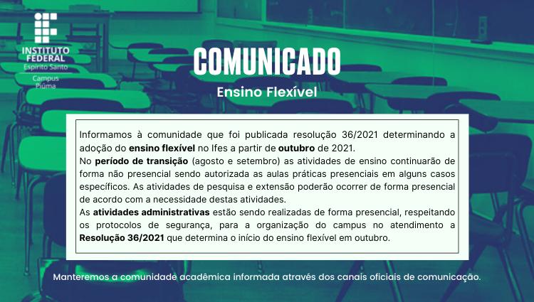 Comunicado à Comunidade Sobre o Ensino Flexível no Ifes - Campus Piúma
